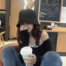 New Hot Fabric Style Cotton Linen Fisherman's Hat Women's Solid Color Vertical Stripe Basin Fashion Bucket