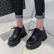 Pxelena novo 2020 primavera inverno sapatos femininos plataforma grossa creppers punk gótico oxfords preto branco couro de patente tamanho grande 45