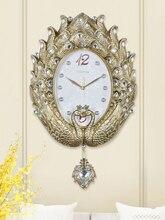 Luxury Peacock Wall Clock Art European Modern Creative Simple Swing Wall Clock Pendulum clock Fashion Large Bedroom Decor