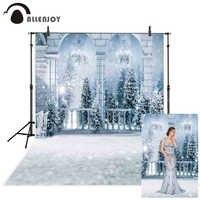 Allenjoy fotografie hintergrund weiß winter balkon schnee Weihnachten baum hintergrund photo photobooth individuell bedruckte