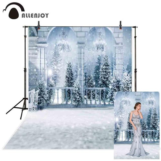 Allenjoy photography background winter wonderland Frozen palace balcony snow Christmas forest backdrop photocall photobooth