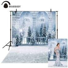 Fotografia Allenjoy tło zima kraina czarów mrożony pałac balkon śnieg boże narodzenie las tło photocall photobooth