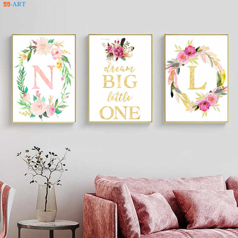 Nursery Canvas Painting Blush Pink Floral Poster Monogram Prints Watercolor Gold Foil Feathers Painting Girls Home Decoration