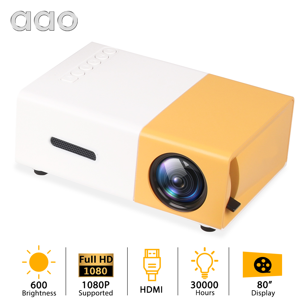 AAO YG300 YG310 Mini Portable <font><b>LED</b></font> Mini Projector Home Theater Game Beamer Video Player SD HDMI USB Speaker <font><b>YG</b></font>-<font><b>300</b></font> Child Beamer image