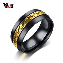Vnox 8mm Rhombus Uneven Surface Cool Men Ring Stainless Steel Black Gold Color Lozenge Punk Male Jewelry US Size #7-#12(China)
