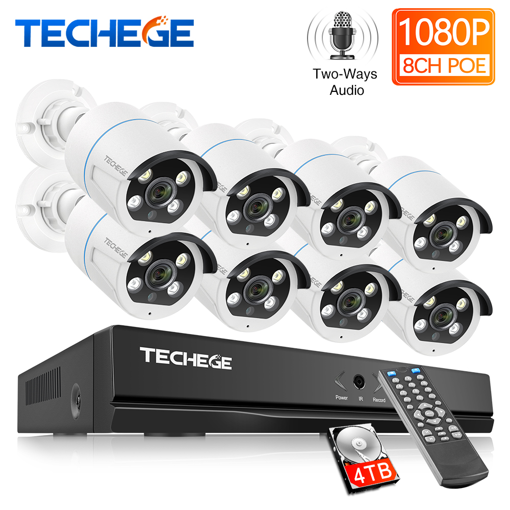 Techege 8CH 2MP POE AI Cameras System Two-way Audio Human Detection Metal Waterproof Outdoor Video Camera CCTV Camera System