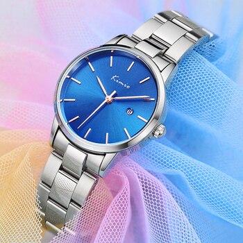 KIMIO Simple Classic Blue Wristwatch Women Watches Luxury Dress  For Quartz Stainless Steel Elegant Ladies 2020