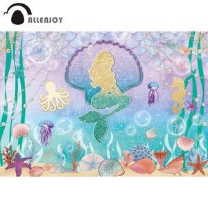 Image 1 - Allenjoy dos desenhos animados sereia menina aniversário decoração fundo mar água estrelas do mar conto de fadas photozone papel de parede vinil photophone