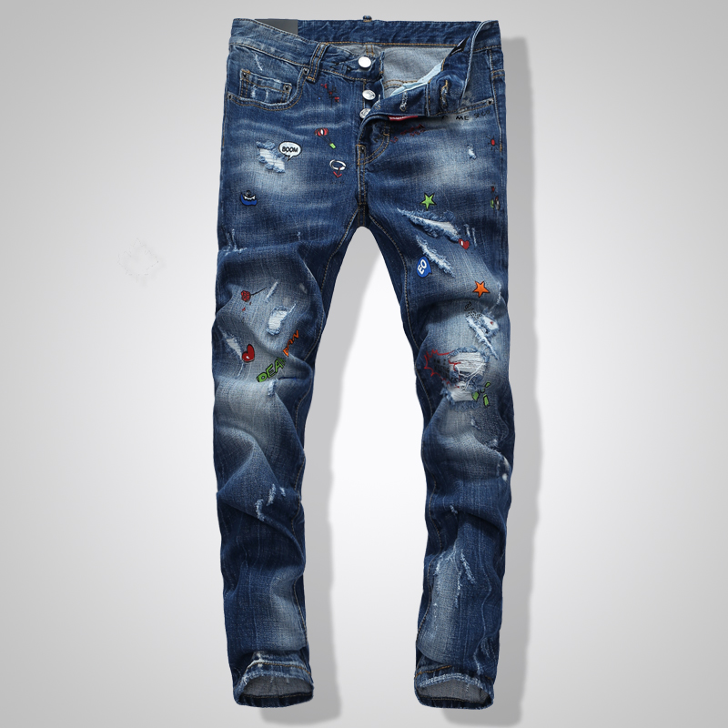 2020 Autumn And Winter Fashion Low Waist Feet Spray Paint Graffiti Jeans Men's Fashion Hip Hop Stage Tide Men's Jeans