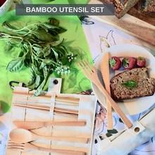 Натуральный набор столовых приборов, Бамбуковая посуда, многоразовая деревянная посуда, набор, уменьшающий пластиковые одноразовые столовые приборы, чтобы переносить эко столовые приборы, набор