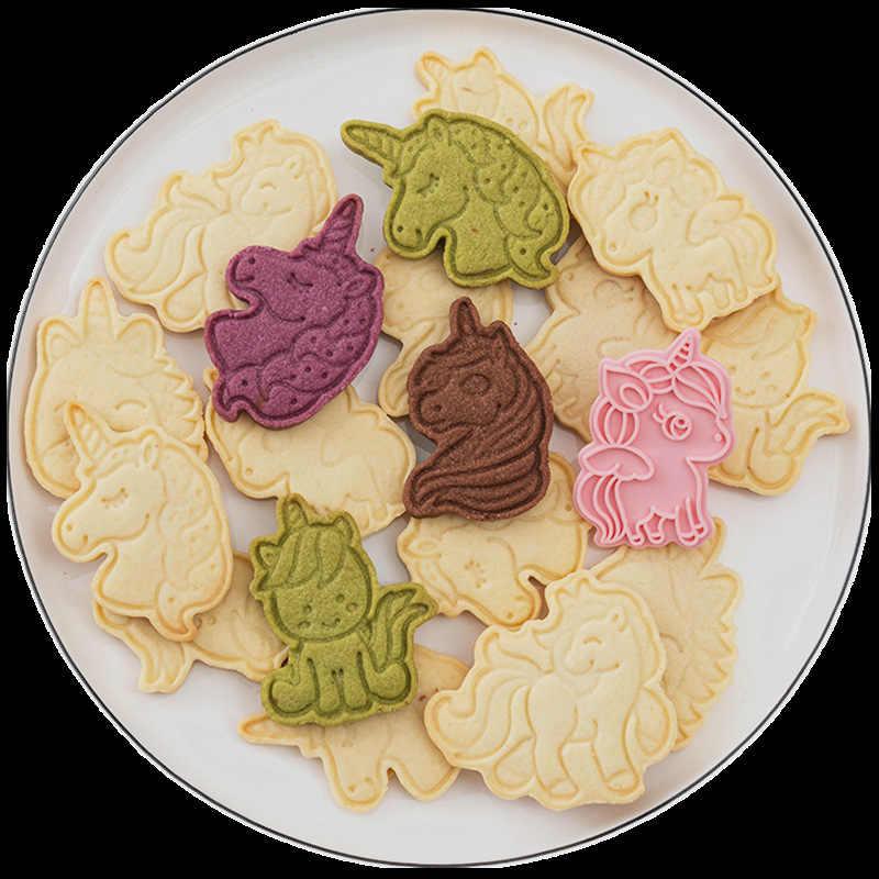 6 unids/set de cortadores de galletas con forma de unicornio de plástico 3D molde de galletas Pressable de dibujos animados, sello de galletas, herramienta para hornear pasteles y hornear