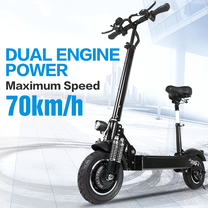 Janobike Electric scooter double drive52V 2000W with seat 10 inch road tire folding electric motorcycle pedal adultfree delivery