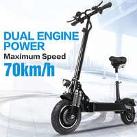 Janobike Elektrische roller doppel drive52V 2000W mit sitz 10 zoll road reifen klapp elektrische motorrad pedal adultfree lieferung