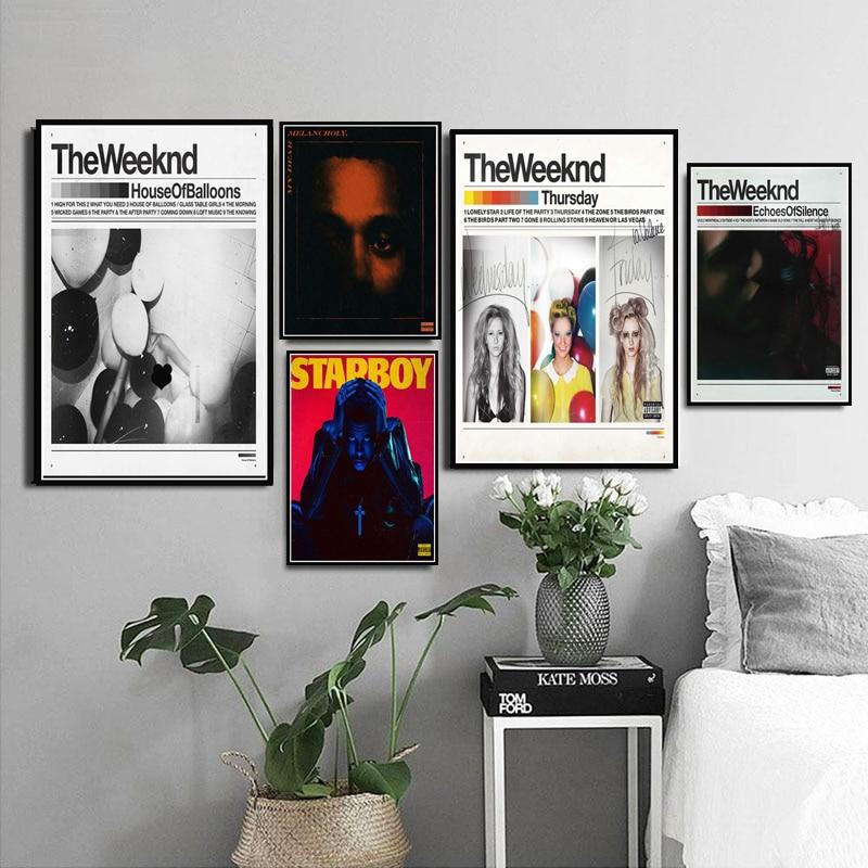 A estrela weeknd menino r & b casa balões rap música álbum quadros em tela cartazes e cópias quadros de parede para decoração sem moldura