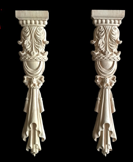 2Pieces/Lot 30x6.5cm European Style Furniture Stigma Rome Column Carved Wood Decoration