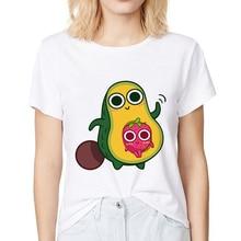 cute Avocado family and Strawberry t funny t shirt women summer white casual femme girl kawaii streetwear tshirt short sleeve