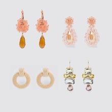 Fashion ZA Jewelry Drop Earrings Women 2019 Newly Glass Crystal Flowers  Statement Wedding Delicate Shiny Elegant Charm New Gift