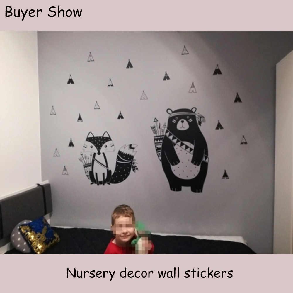 קריקטורה שבטי חיות ויניל קיר מדבקות לילדים חדרי דקור תינוקת שינה מדבקות מדבקת דוב שועל אמנות טפט חמוד ملصقات