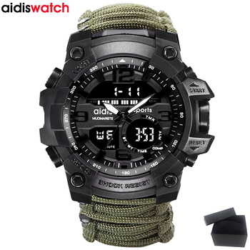 Top Brand AIDIS Men Military Watch Fashion Outdoor Compass Waterproof LED Quartz Clock Sport Watch Male relogios masculino 1