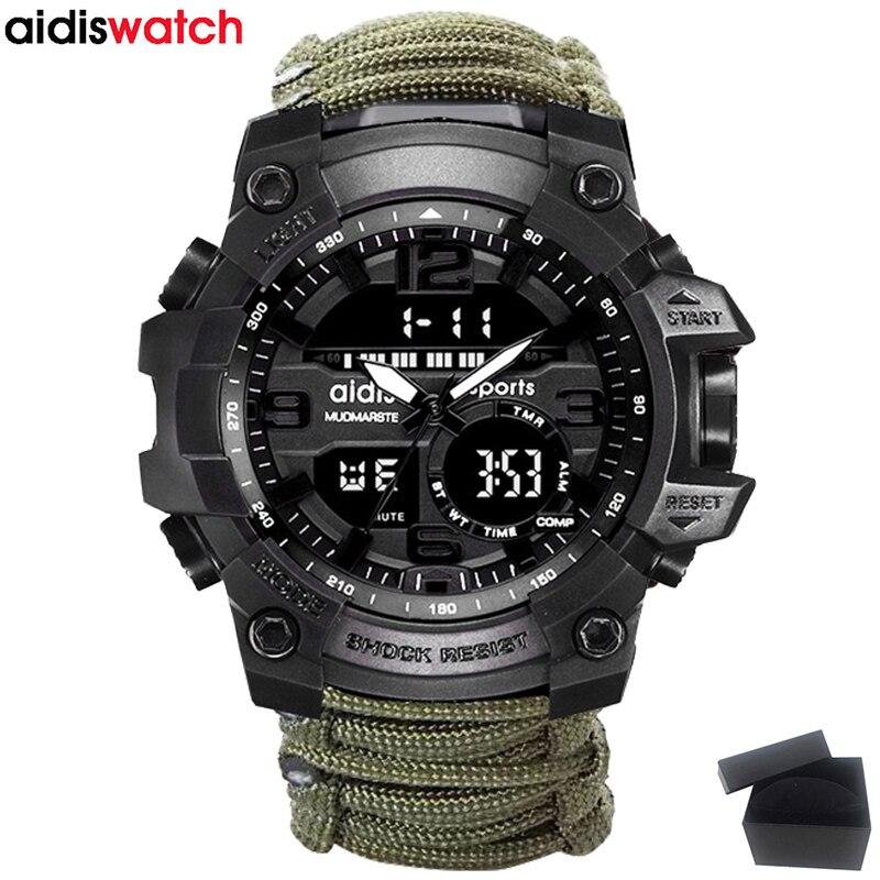 Marca de topo Homens Relógio Militar Moda AIDIS Bússola Ao Ar Livre LEVOU À Prova D' Água Relógio de Quartzo Relógio Do Esporte Masculino relogios masculino