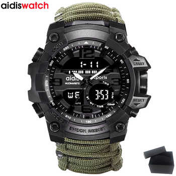 Top Brand AIDIS Men Military Watch Fashion Outdoor Compass Waterproof LED Quartz Clock Sport Watch Male relogios masculino - DISCOUNT ITEM  30% OFF All Category