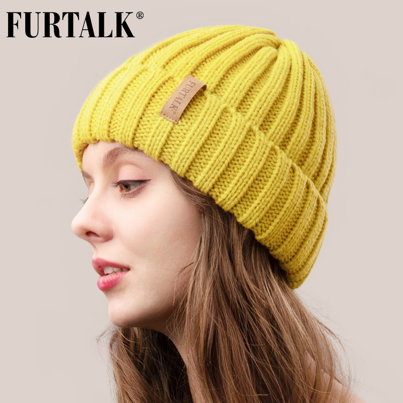 FURTALK Winter Hat For Women Beanie Hat With Fleece Lining Men Lady Knitted Winter Cap For Female Girl Red Black White Pink Grey