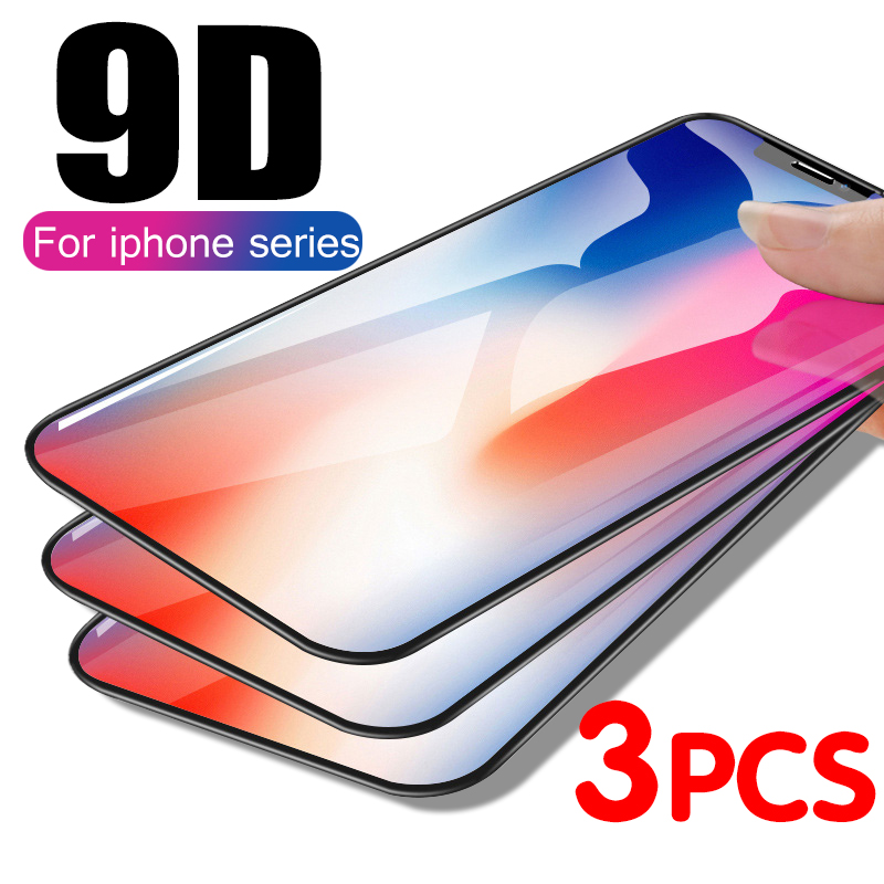3Pcs Full Cover Glass On The For IPhone X XS Max XR Tempered Glass For IPhone 7 8 6 6s Plus X XS 11 Pro Max 11 Screen Protector