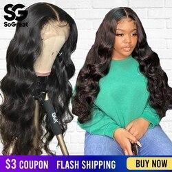 Peluca Frontal de pelo humano de encaje 360 prearrancada con pelo de bebé Pelo Corto brasileño Natural Remy cuerpo ondulado pelucas para mujeres negras