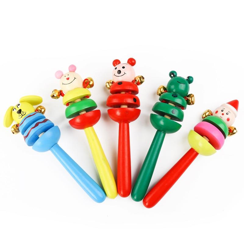 1 Piece Baby Wooden Rattle Wooden Cartoon Rattler Hand Bell Baby Rattles Jingle Bells Infant Shaker Rattle Educational Toys