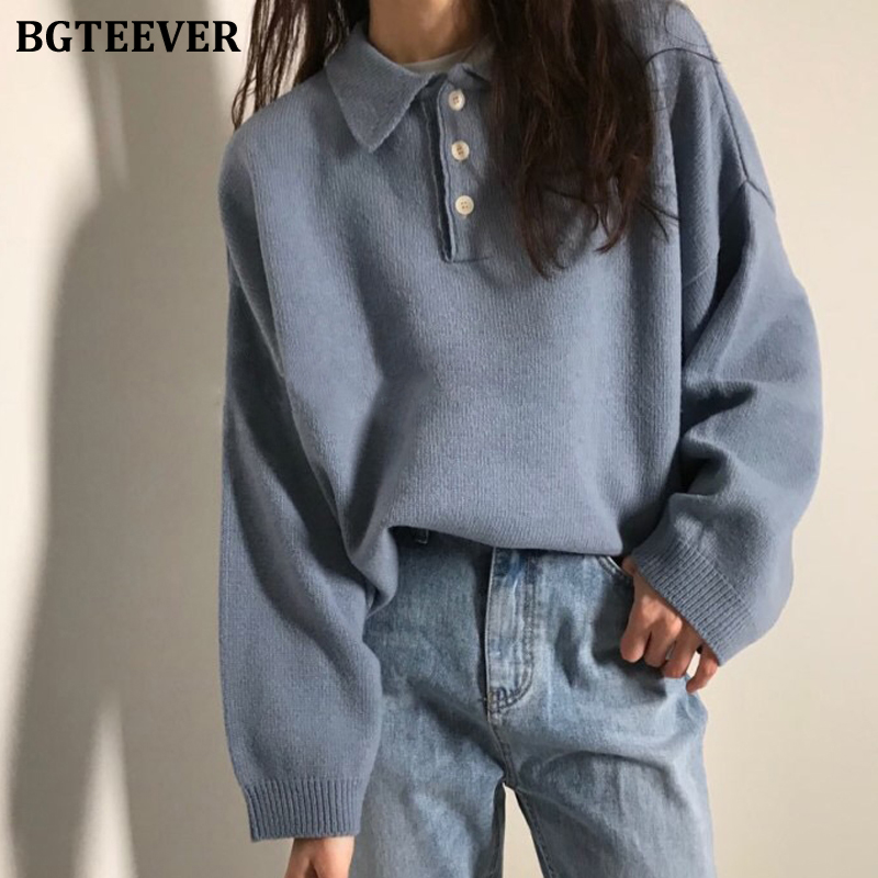 BGTEEVER Chic Turn-down Collar Buttons Long Sleeve Female Sweaters Spring Casual Loose Knitting Jumpers Ladies Sweater Tops 2020