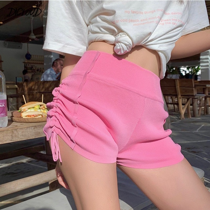 DICLOUD Knit Shorts Women Fashion Solid Slim Casual Skinny Shorts Sexy High Waist Stretch Pink Booty Shorts Women's Clothing