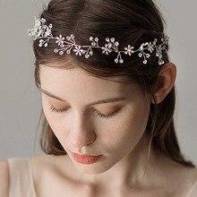 Hair-Clips-Accessories Wedding-Headband Rhinestones Bridesmaids Silver Crystal for Snowflake