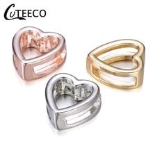CUTEECO DIY Hollow Love Heart bead Shaped Slide Charms Fits Pandora Bracelet Stainless Steel Mesh Bracelets Making Accessories