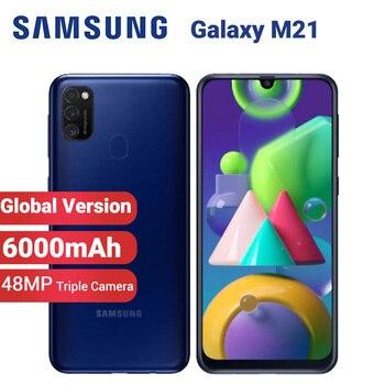 Перейти на Алиэкспресс и купить Глобальная версия Samsung Galaxy M21 M215F/DS мобильный телефон 6000 мАч Dual SIM 64 ГБ 4 ГБ 6,4 дюймExynos 9611 48MP Android 10 4G смартфон