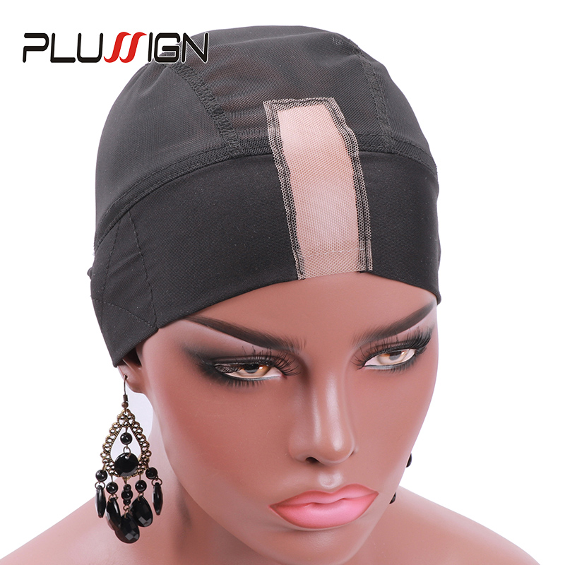 12Pcs/Lot Integral Headband And Wig Cap With Adjustable Velcro And Strap Breathable Soft Spandex Dome Cap Mesh Head Band Wig Cap