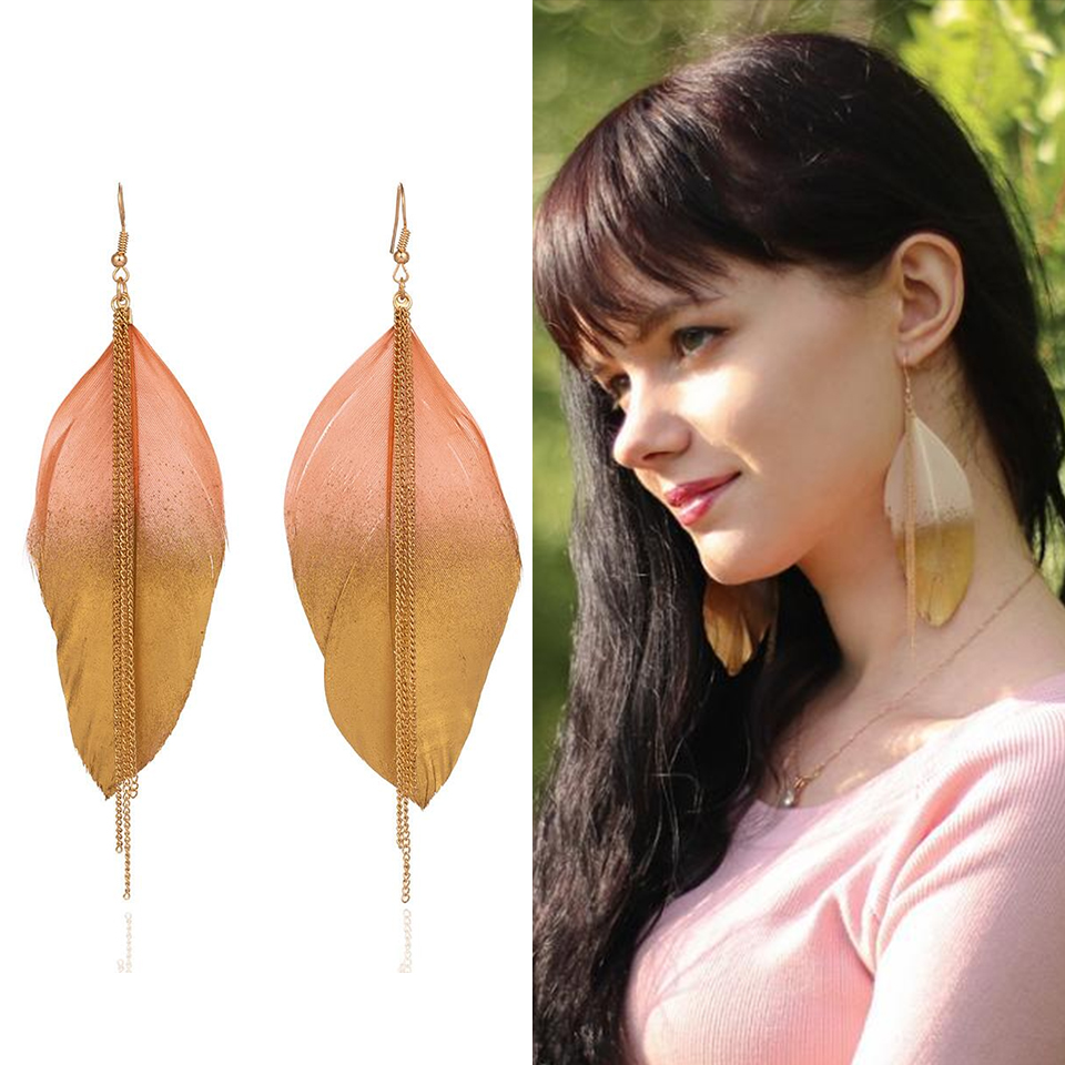 Boho Coloful Ethnic Gypsy Boho Natural Feather Dangle Hanging Drop Earrings for Women Fashion Wedding Jewelry Accessories Gift