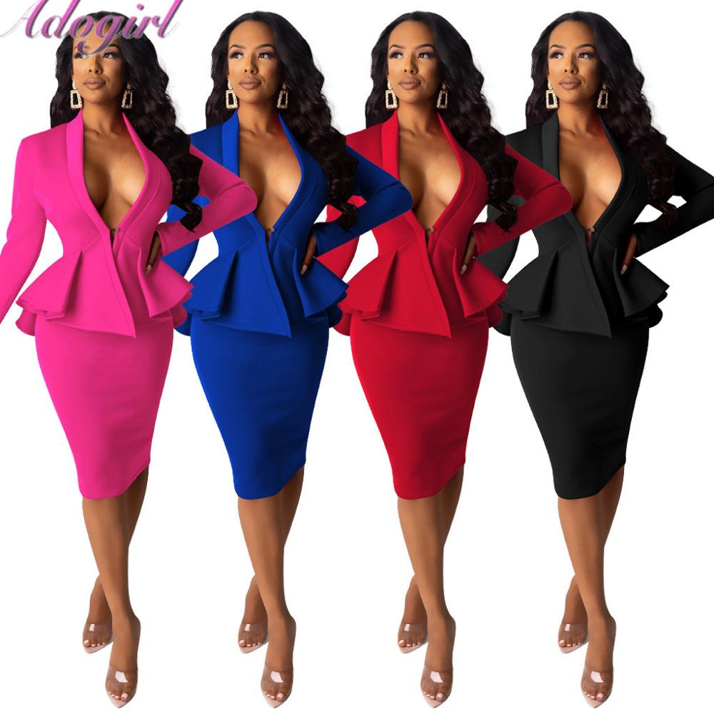 Women Solid Blazer Two Piece Set Casual VNeck Long Sleeve Ruffle Hem Blazer Coat Top Pencil Midi Skirt Office Lady Work Suit Set