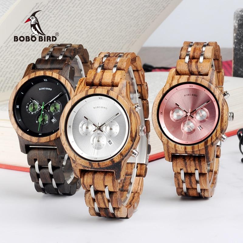 BOBO BIRD Women Wooden Watches Orologio da donna Luxury Wood Metal Strap Chronograph Date Ladies Quartz Watch Timepieces-in Women's Watches from Watches