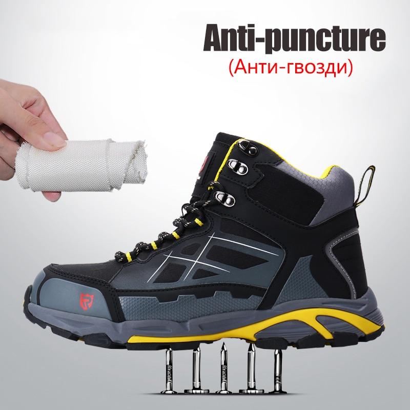 Larnmern homens de aço toe sapatos de segurança de trabalho leve respirável anti esmagamento anti punctura botas protetoras estáticas - 3