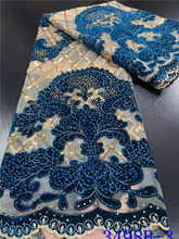 NIAI Latest African Lace Fabric 2020 High Quality Velvet Lace Royal Blue Nigerian Lace African Lace Fabric For Wedding XY3498B-3