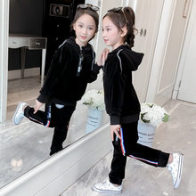 Get more info on the Spring Autumn Girls Sports Suit Gold Velvet Tracksuit Kids Fashion Sportwear Children Hooded Clothes Sweatsuit Casual Outfit
