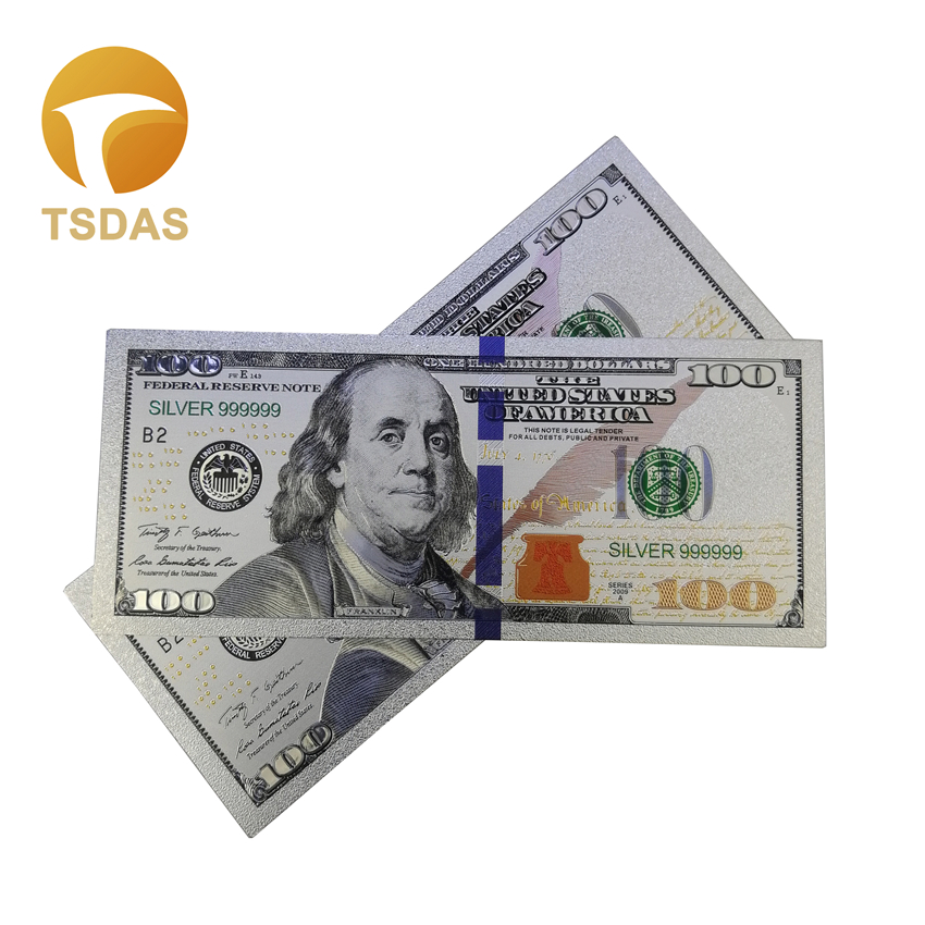 Silver Banknotes Bills 100 Dollars Banknote Paper Money Colored US Banknotes For Collection And Business Gifts 10pcs/lot