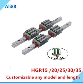 2pc Linear Rail Guide HGR15 HGR20 any length+4pc HGH20CA Linear Narrow/Flange carriges Sliding Block HGW20CC cnc parts