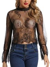 Women Long Sleeve Lingerie Sheer Tee Lace Trim Blouse Mesh Floral Clubwear Exposing Navel Top Shirt