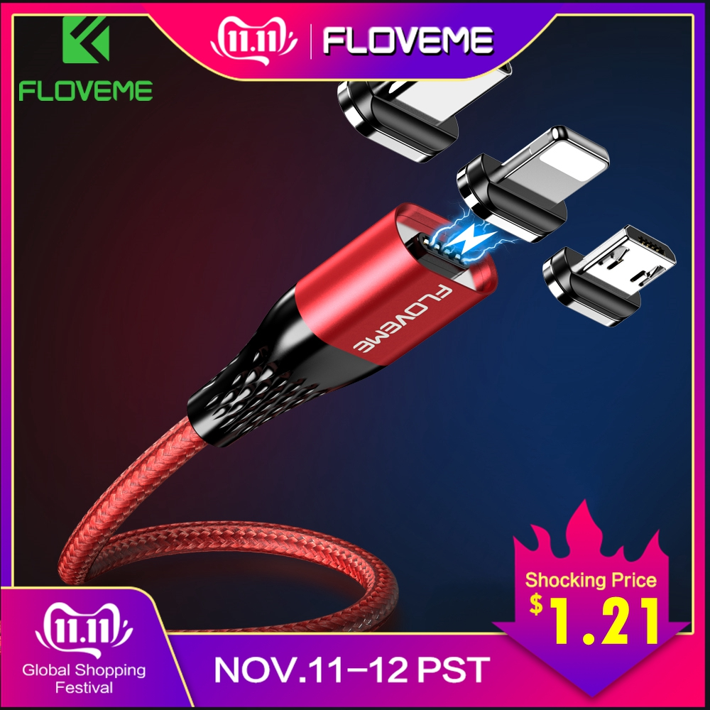 FLOVEME Magnetic Usb Charging Cable Micro Usb Type C Magnet Fast Charger Wire Cord 3a For iphone Samsung Redmi Note 7 8 Microusb-in Mobile Phone Cables from Cellphones & Telecommunications
