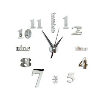 3d wall clock modern design kitchen decorative mirror self adhesive digital vintage large wall clock on the wall watch clock new 7