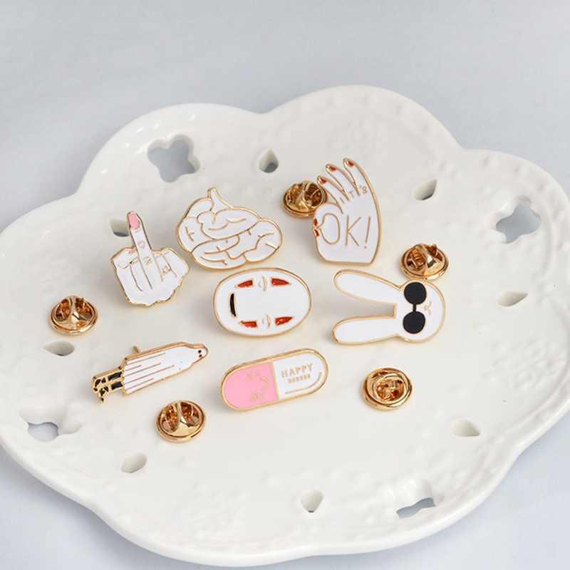Kelinci Putih Masker OK Gambar Tanda Otak Enamel Lucu Kartun Bros Pin Lencana Ransel Wanita Tas Aksesoris Perhiasan Hadiah
