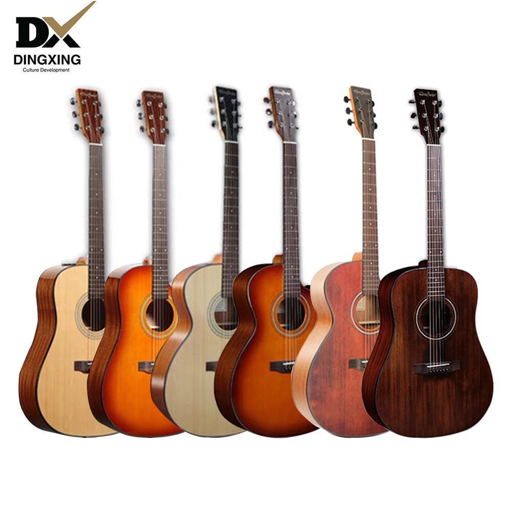 Guitare acoustique 41 pouces 40 bois massif instruments à cordes musicales cordes en acier personnalisé guitarras professionnel chine marque oem