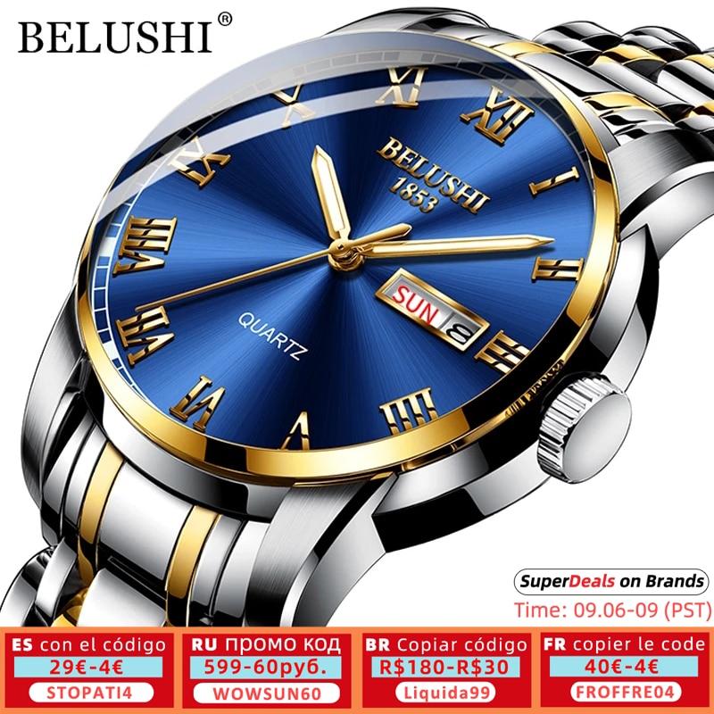 BELUSHI Top Brand Luxury Mens Watches Luminous Waterproof Stainless Steel Watch Quartz Men Date Calendar Business Wristwatch Quartz Watches  - AliExpress