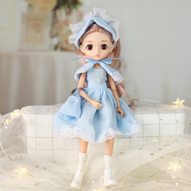 26cm 1/6 Bjd Doll With Clothes Blue 3D Eyes 11 Movable Joints Eyelashes Long Hair Wig Dress Up DIY Toy For Girls Fahsion Gift 3